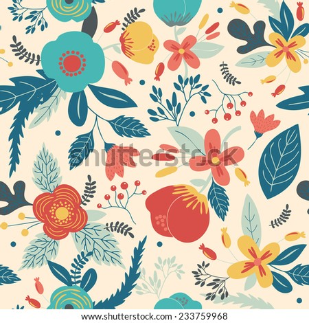 Beautiful seamless pattern with flowers. Bright illustration, can be used for creating card, invitation card for wedding,wallpaper and textile. - stock vector