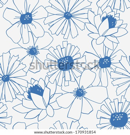 Beautiful seamless pattern with flowers. Vector illustration