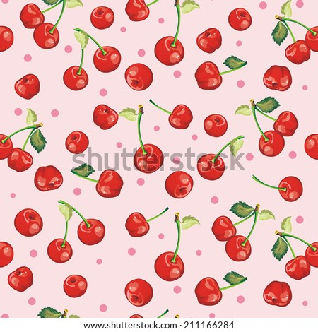 Beautiful seamless pattern with Red Cherries, graphics vector illustration - stock vector