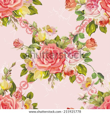 Beautiful seamless pattern with watercolor flowers. Elegance vector illustration - stock vector