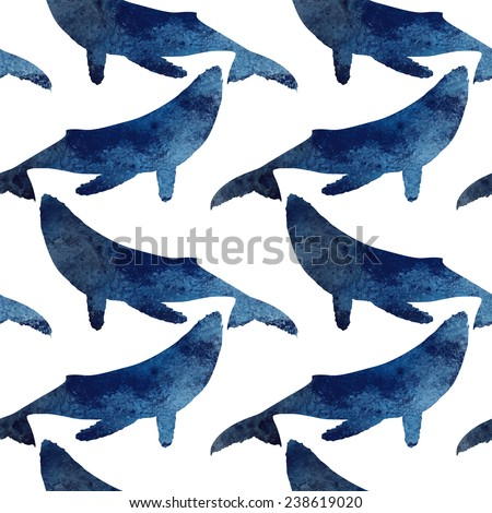 Beautiful seamless pattern with watercolor silhouette of a whale - stock vector