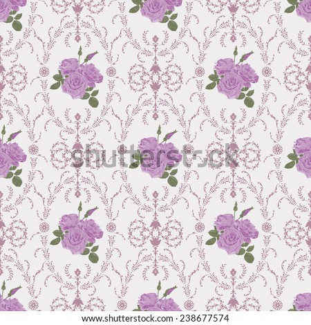 Beautiful seamless purple rose pattern with baroque background ornamental vector illustration - stock vector