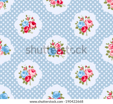 Beautiful Seamless rose pattern,  illustration.  Ideal for printing onto fabric and paper or scrap booking. Pink, yellow and green color. Cottage shabby chic style. - stock vector