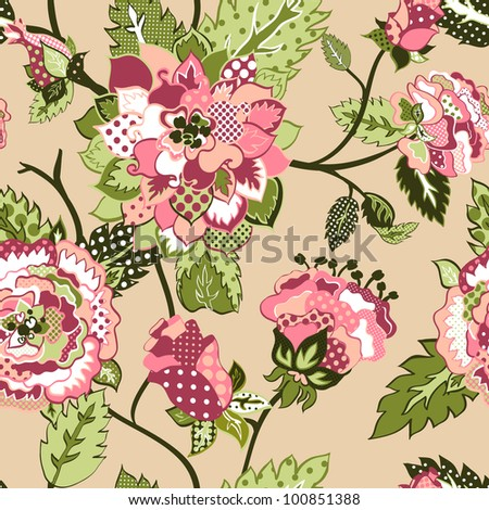beautiful seamless vector background with roses. - stock vector