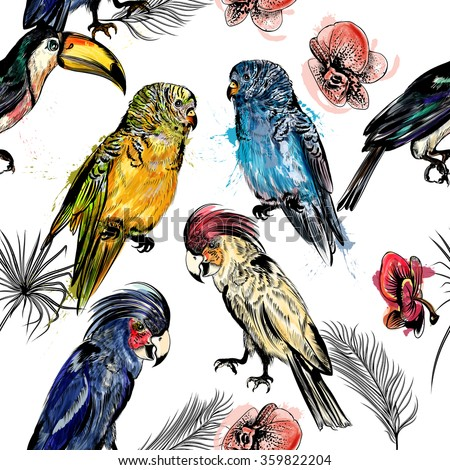 Beautiful seamless vector background with tropical birds in engraved and watercolor styles - stock vector
