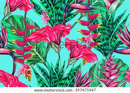 Beautiful seamless vector floral pattern background tropical flowers