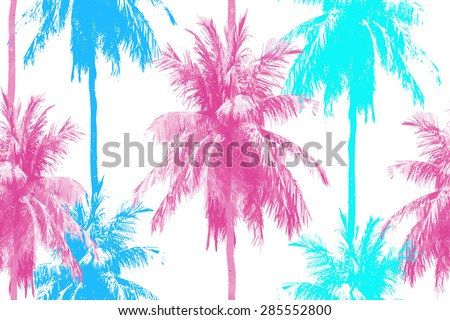 Beautiful seamless vector floral pattern background with palm trees - stock vector