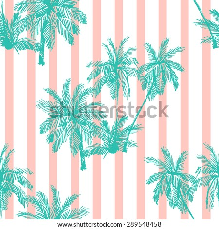 Beautiful seamless vector floral pattern background with palm trees, abstract stripped geometric texture - stock vector