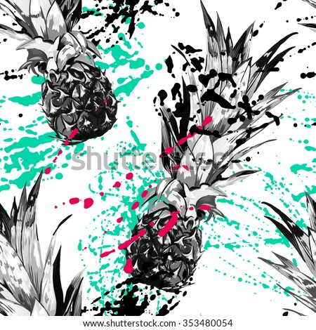 Beautiful seamless vector floral pattern background with pineapples. Abstract texture - stock vector