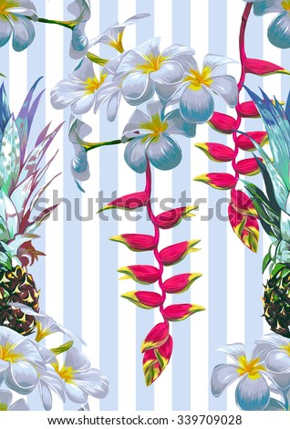 Beautiful seamless vector floral pattern background with pineapples, tropical flowers. Abstract striped geometric texture - stock vector