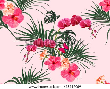 Beautiful Seamless Vector Floral Summer Pattern Background With Tropical Palm Leaves Orchid Hibiscus