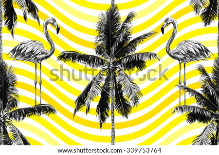 Beautiful seamless vector floral tropical jungle pattern background with palm trees and flamingos. Abstract striped geometric pattern - stock vector