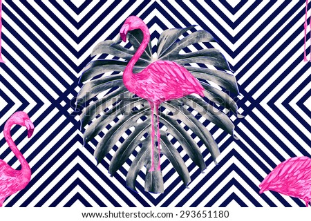Beautiful seamless vector floral tropical pattern background with watercolor pink flamingos and jungle leaves. Abstract stripped geometric texture - stock vector