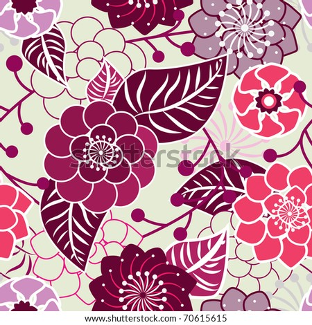 Beautiful seamless vector flowers texture in gentle pink colors