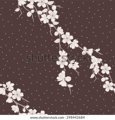Beautiful  seamless vector illustration with sakura flowers ,pattern can be used for wallpaper, pattern fills, surface textures   - stock vector