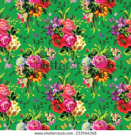 beautiful seamless vector pattern with bouquets of flowers on a green background - stock vector