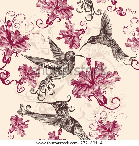 Beautiful seamless wallpaper pattern with hummingbirds and flowers - stock vector