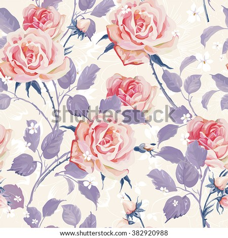 Beautiful Seamless wallpaper with flowers on a white background. Elegance floral vector illustration - stock vector