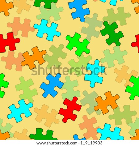 Beautiful  seamless wallpaper with jigsaw puzzle, vector illustration