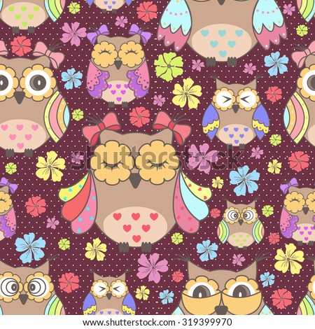 Beautiful seamless wallpaper with owls and flowers on a purple background - stock vector