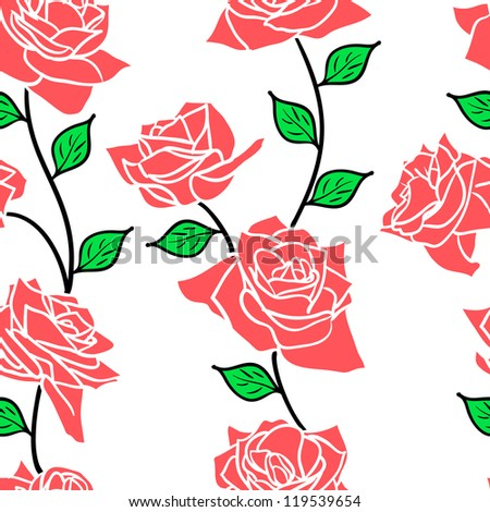 Beautiful  seamless wallpaper with rose flowers, vector illustration - stock vector
