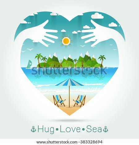 Beautiful seascape Summer in heart with hug hand concept Vector illustration - stock vector