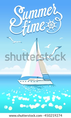 Beautiful seascape with yacht and seagulls on clear sky
