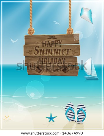 Beautiful seaside view poster. Vector background. - stock vector