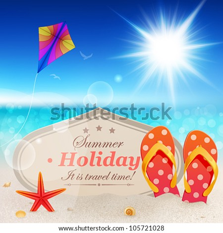 Beautiful seaside view with vintage card, sand and flip-flops. - stock vector