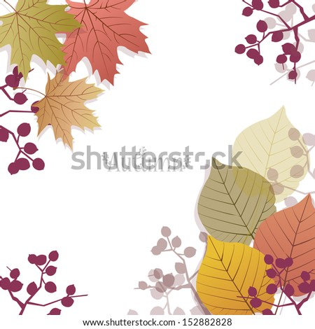 Beautiful seasonal Background with autumn leaves and berries, with space for text.File contains Clipping mask with un-cropped images (you can edit the position etc), transparency, Gradient. - stock vector