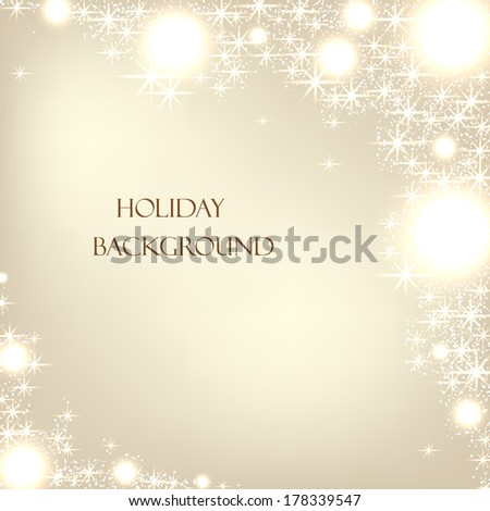 Beautiful sequins on the festive beige background. Vector  illustration