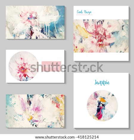 Beautiful set of cards design,vector, floral style - stock vector
