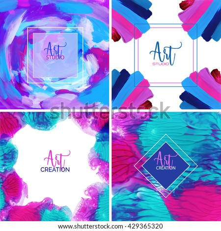 Beautiful set of cards with words art creation and art studio,Abstract style, hand painted - stock vector