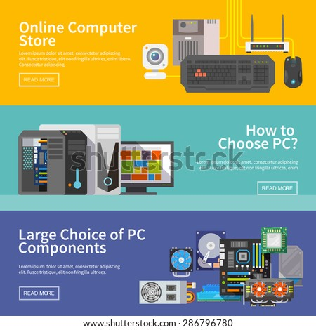 Beautiful set of colorful flat vector banners on the theme: assembling a desktop computer, computer store, choice of PC components. All items are created with love especially for your amazing projects - stock vector