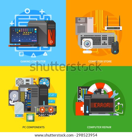 Beautiful set of colorful flat vector square banners on the theme: gaming computer, pc components, computer repair, pc store. All items are created with love especially for your amazing projects. - stock vector