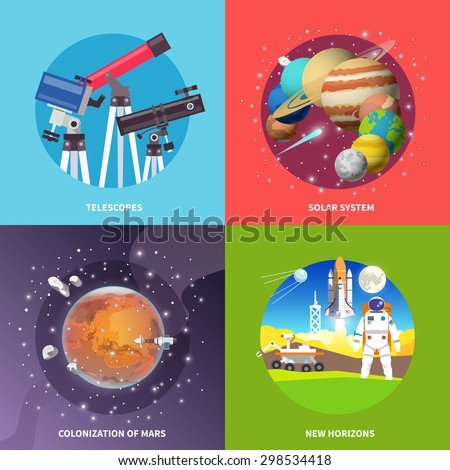Beautiful set of colorful flat vector square banners on the theme: telescopes,solar system, mars, space. All items are created with love especially for your amazing projects. - stock vector