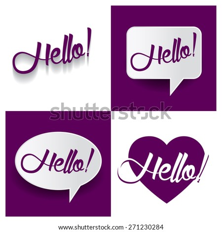 Beautiful set of Hello Hand lettering handmade vector calligraphy purple background set. vector call out Hello letter. heart shape Hello text - stock vector