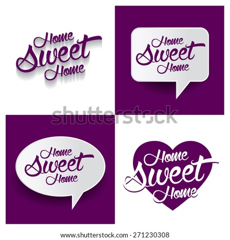Beautiful set of Home Sweet Home Hand lettering handmade vector calligraphy purple background set. vector call out Home Sweet Home letter. heart shape Home Sweet Home text - stock vector