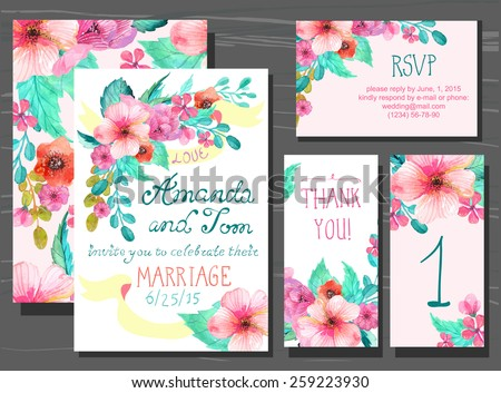 Beautiful set of invitation cards with watercolor flowers elements and calligraphic letters. Wedding collection, Vector