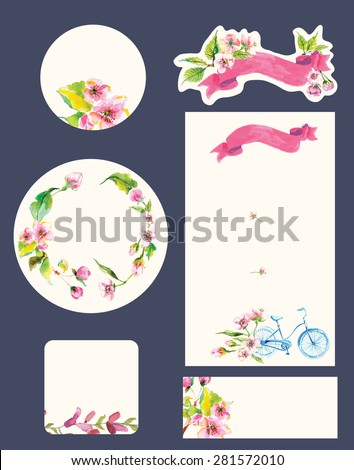 Beautiful set of invitation cards with watercolor flowers elements and calligraphic letters. Wedding collection, Vector - stock vector