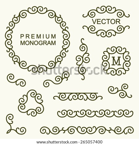 Beautiful set of line design elements for logos, frames and borders  - stock vector