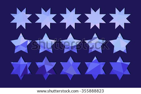 beautiful set of stars which are poured as crystals. Vector illustration creative design of objects