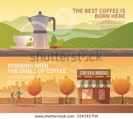 Beautiful set of vector banners for your projects. Coffee, coffee drinks, coffee cultivation. Mountains. City, cityscape, landscape. Couple, a date. Evening. Cafe, coffee shop. Flat design. - stock vector