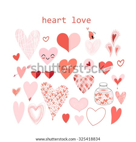 Beautiful set of vector illustration red valentine hearts