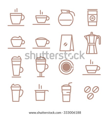 Beautiful set of vector line icons for your projects. Coffee, cafes, coffee shops, types of beverages. Italian coffee. The consumption of coffee. Breakfast.  - stock vector