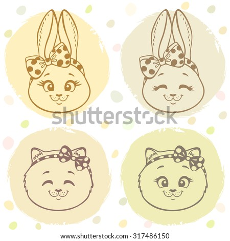 Beautiful set with cute and sweet cartoon bunny and kitten with a bow on head. Vector illustration - stock vector
