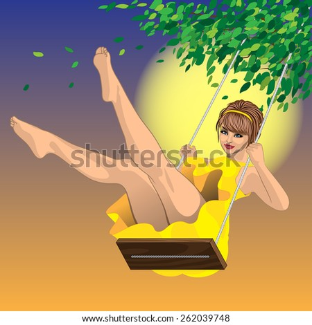beautiful sexy girl in yellow dress on a swing and a blue sky - stock vector