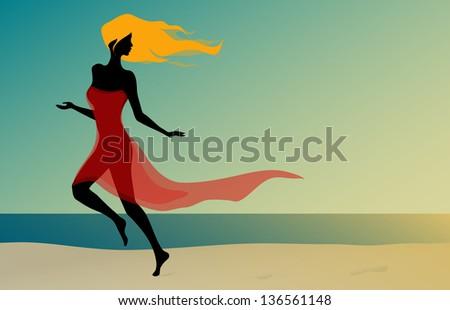 Beautiful sexy girl running on the sunshine beach - stock vector