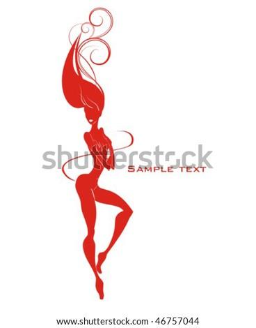 Beautiful sexy nude girl - stock vector