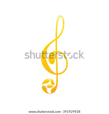 Beautiful shabby golden colored treble clef with floral elements isolated on white background. Greeting card / invitation template. Design element - stock vector